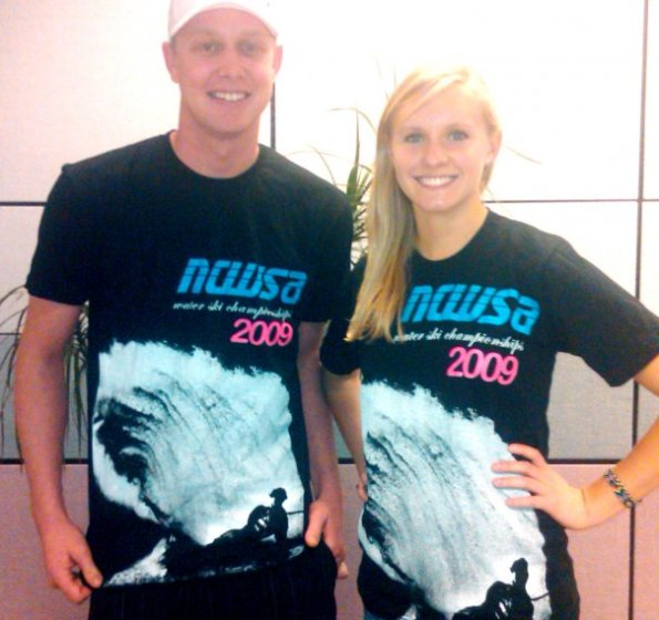 Cal Poly team Vice President, Micah Kuiper, and Fundraising Chair, Kristina Huhn, model the 2009 Collegiate Water Ski Nationals T-shirts.  These American Apparel T's will be available for purchase on site beginning Thursday morning.