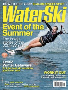 The cover of WaterSki Magazine's September issue features Canadian team skier Whitney McClintock.